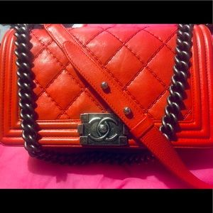 CHANEL Bags - 100% auth Chanel red medium boy bag perfection